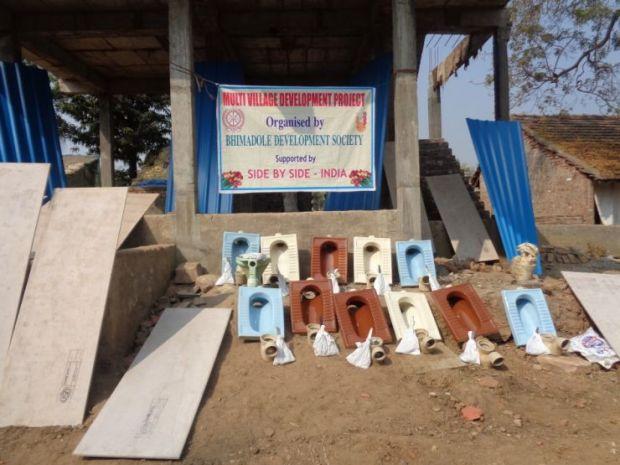 Toilettenbouw in Kothuru en Buraigudem